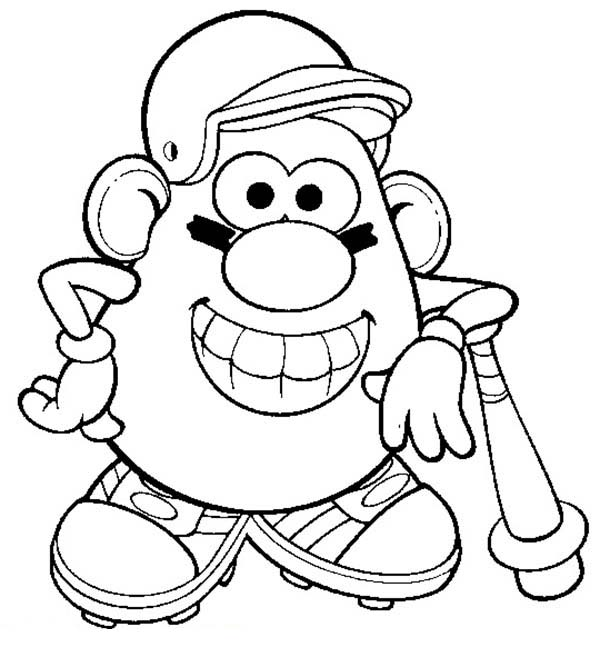 Mr. Potato Head, : Mr. Potato Head the Famous Baseball Player Coloring Pages