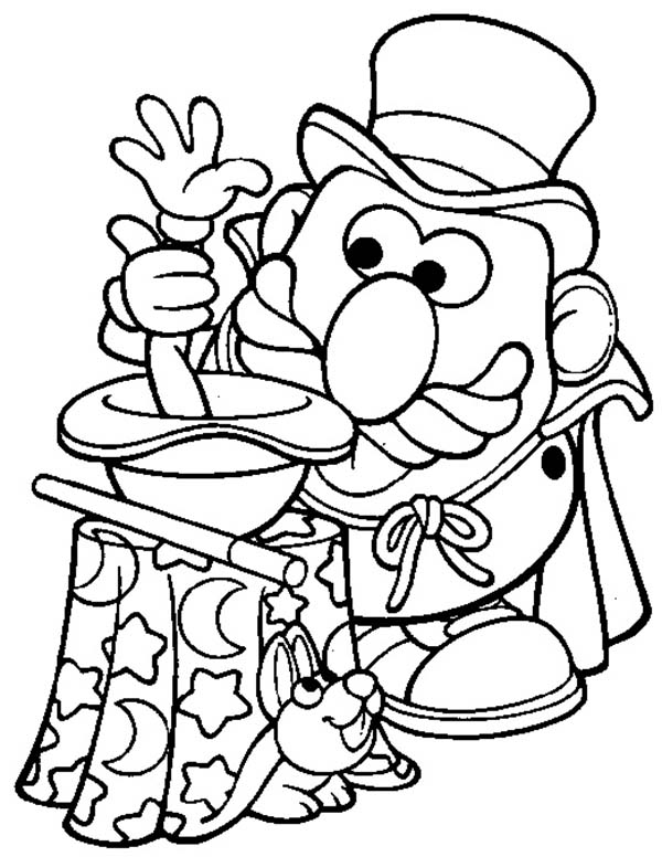 Mr. Potato Head, : Mr. Potato Head the Magician Coloring Pages