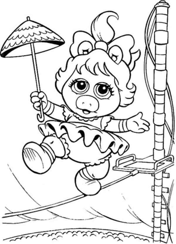 Muppet Babies, : Muppet Babies Circus Walk Balancing on Rope Coloring Pages