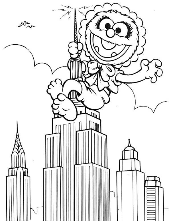 Muppet Babies, : Muppet Babies Climb Empire State Like Kingkong Coloring Pages