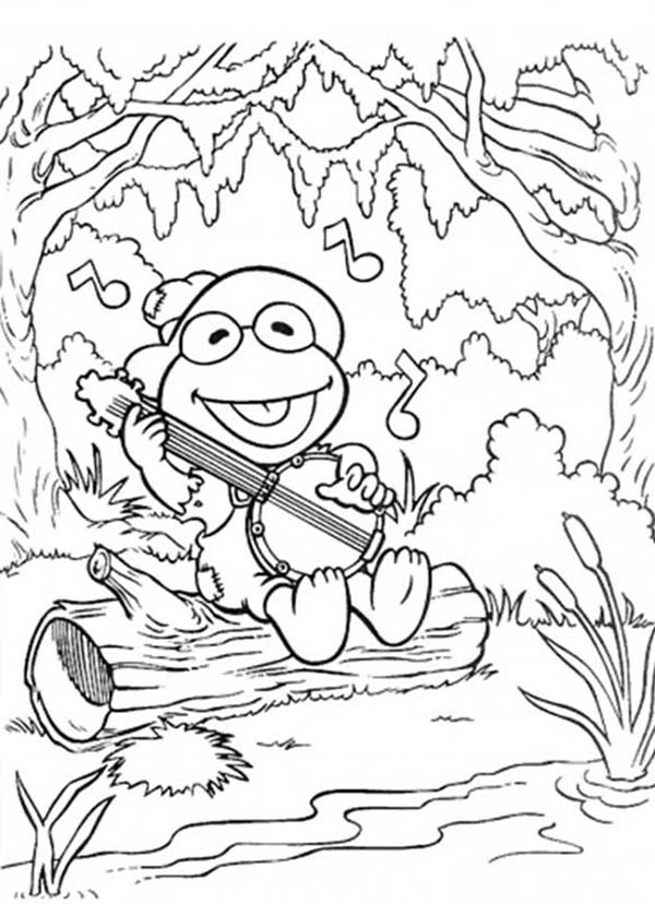 Muppet Babies, : Muppet Babies Elmo Sing a Sing with Guitar Coloring Pages