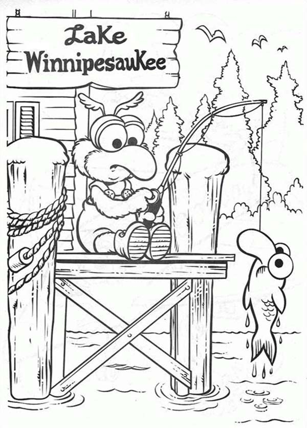 Muppet Babies, : Muppet Babies Fishing at Lake Winnipesauke Coloring Pages