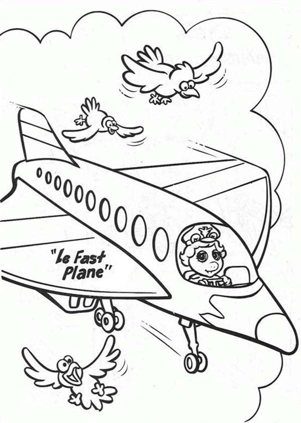 Muppet Babies, : Muppet Babies Flying on Airplane with Birds Coloring Pages