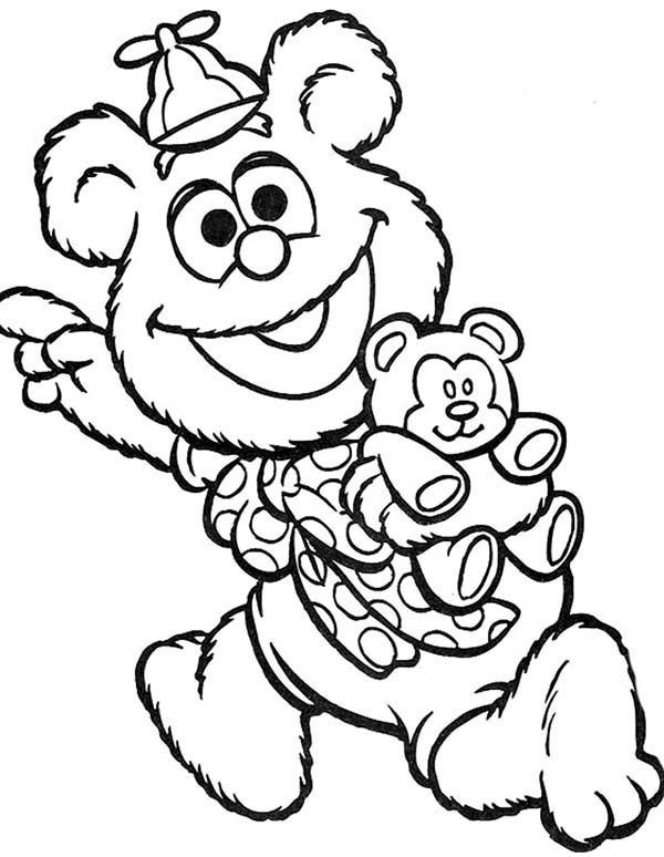 Muppet Babies, : Muppet Babies Happy with His New Teddy Bear Coloring Pages