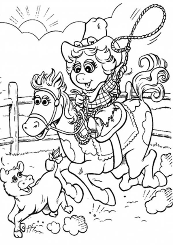 Muppet Babies, : Muppet Babies Riding Horse and Play Lasso Coloring Pages