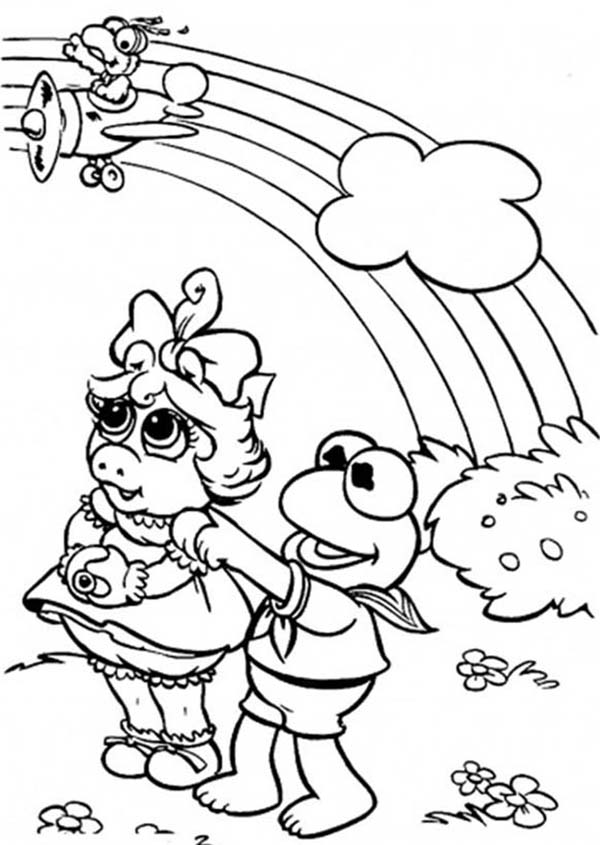 Muppet Babies, : Muppet Babies Spending Time Looking at The Rainbow Coloring Pages