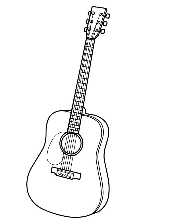 Musical Instruments, : Musical Instruments Acoustic Guitar Coloring Pages 2