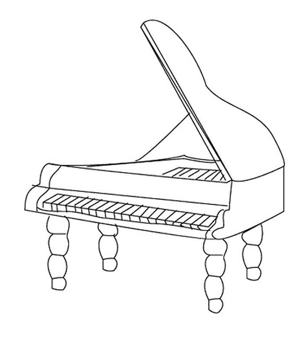 Musical Instruments, : Musical Instruments Grand Piano Coloring Pages