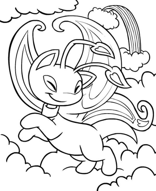 Neopets, : Neopets Playing Between White Clouds Coloring Pages