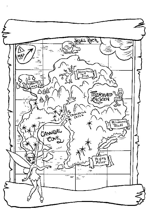 Maps, : Neverland Maps Coloring Pages
