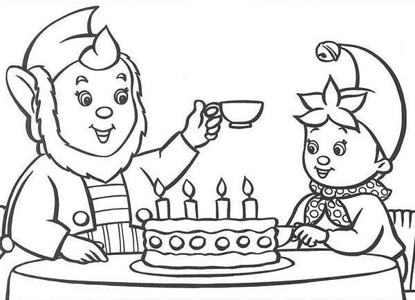 Noddy, : Noddy Celebrate His Birthday with Big Ear Coloring Pages