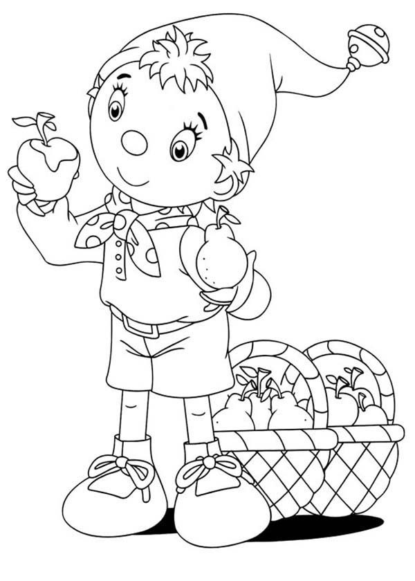 Noddy, : Noddy Confuse to Choose Between Apple and Pear Coloring Pages