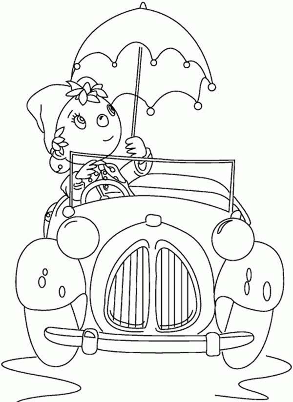 Noddy Driving Car and Using Umbrella Too Coloring Pages   Bulk Color