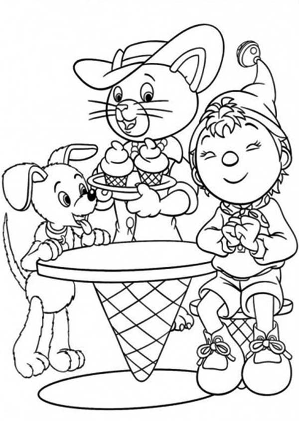 Noddy, : Noddy Love Ice Cream so Much Coloring Pages