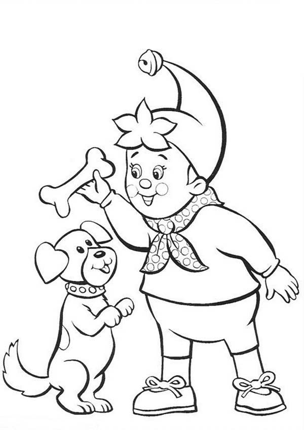 Noddy, : Noddy Play Catch with His Dog Coloring Pages