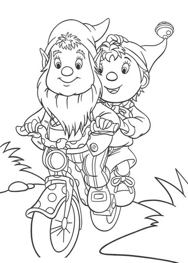 Noddy, : Noddy Riding Bike with Mr Big Ear Coloring Pages
