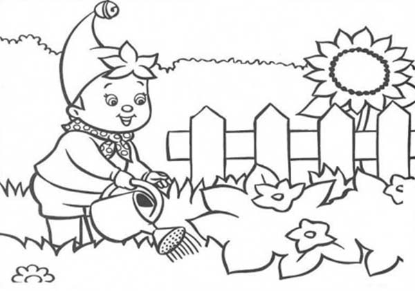 Noddy, : Noddy Water the Flower Garden Coloring Pages