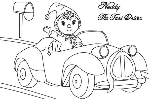 Noddy, : Noddy the Taxi Driver Coloring Pages