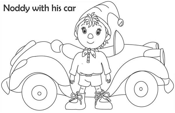 Noddy, : Noddy with His Car Coloring Pages
