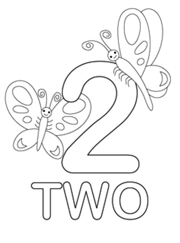 Number 2, : Number 2 Coloring Page for Kids