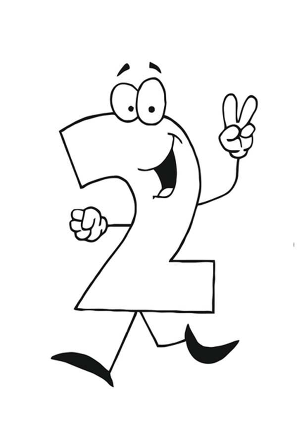 Number 2, : Number 2 Running Away Coloring Page
