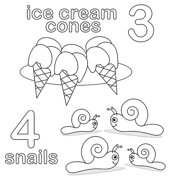 Number 3, : Number 3 Coloring Page for Kids