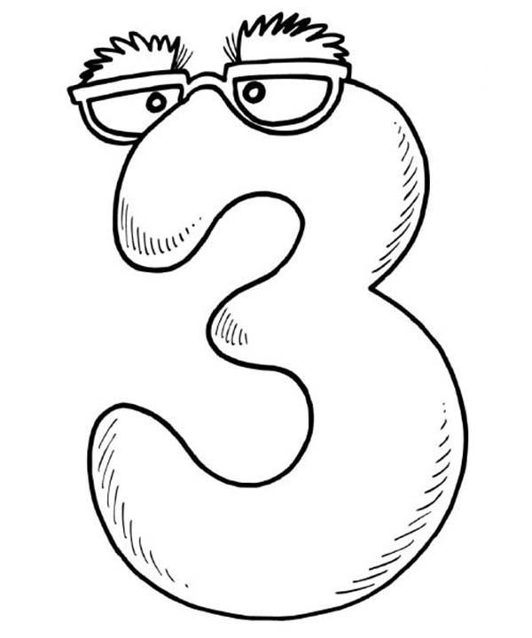 Number 3, : Number 3 Wearing Glassess Coloring Page