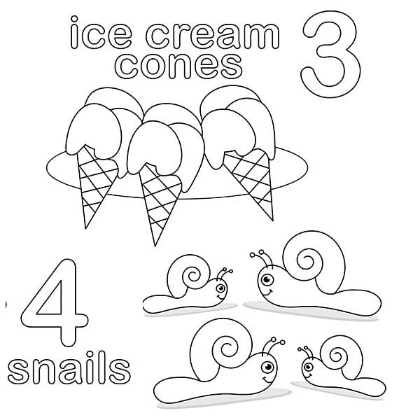 Number 4, : Number 4 Coloring Page for Kids