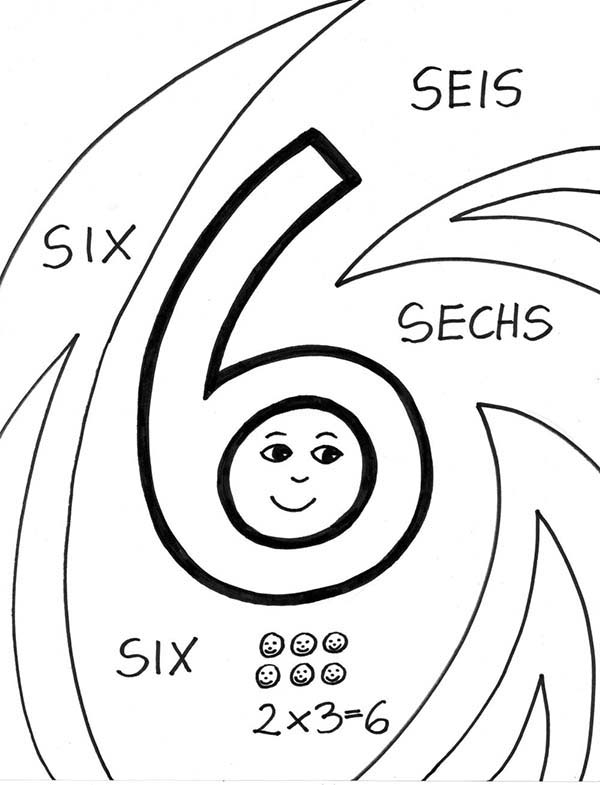 Number 6, : Number 6 in Several Language Coloring Page
