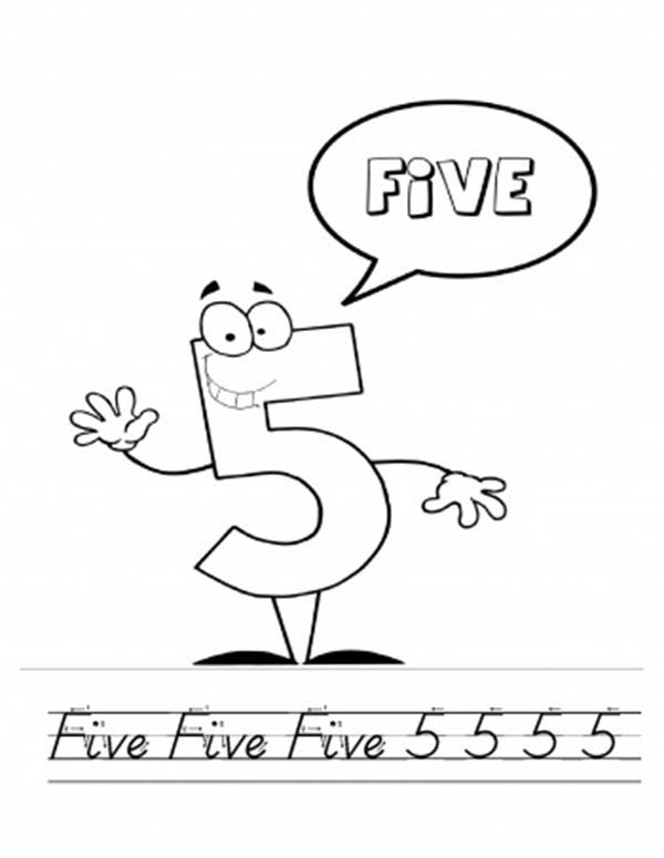 Number 5, : Number Five and Alphabet Handwriting Coloring Page