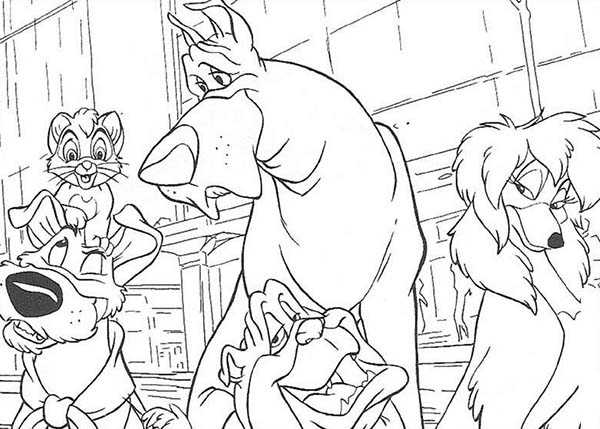 Oliver and Company, : Oliver and Company Characters Hangout Together Coloring Pages