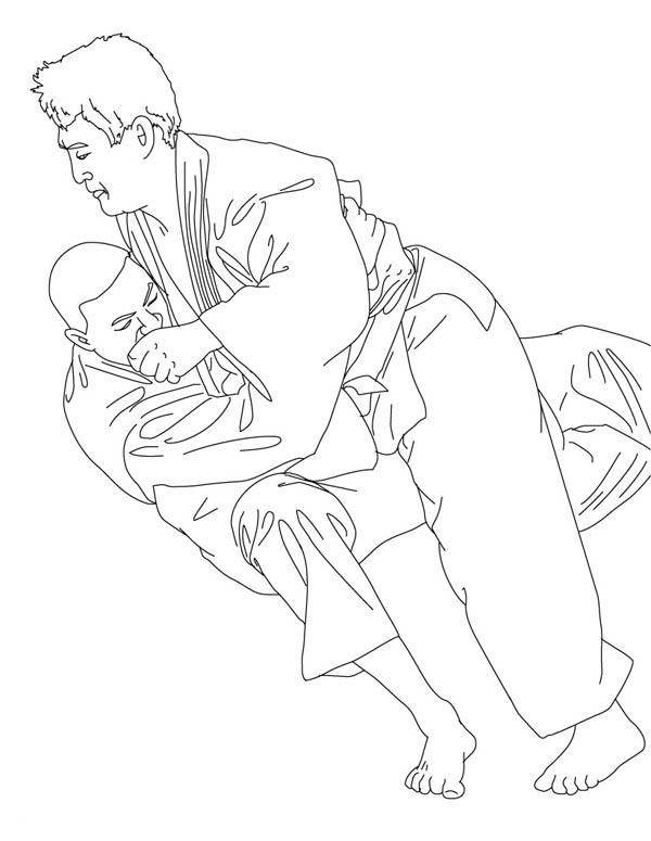 Judo, : Olympic Competition Judo Coloring Pages