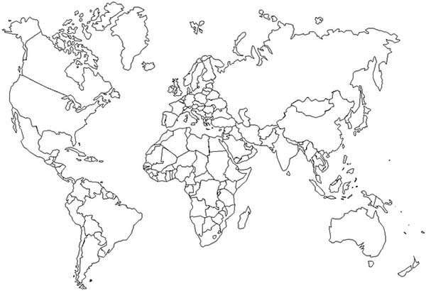 Maps, : Outline World Maps Coloring Pages