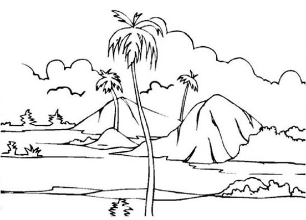 Landscapes, : Paddy Field Landscapes Coloring Pages