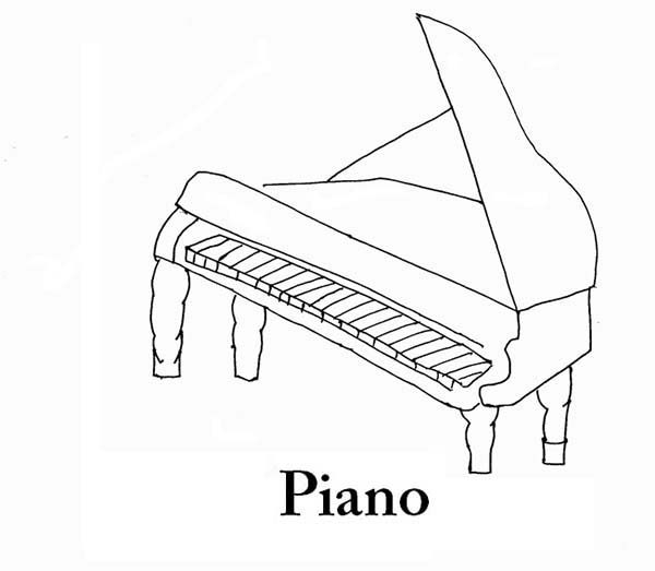 Musical Instruments, : Piano is a Musical Instruments Coloring Pages