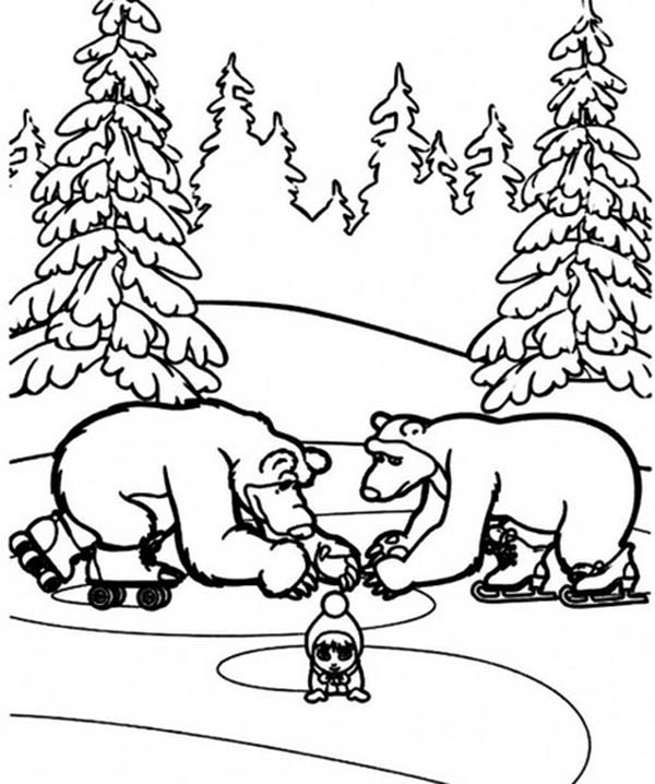 Mascha and Bear, : Picture of Mascha and Bear Coloring Pages