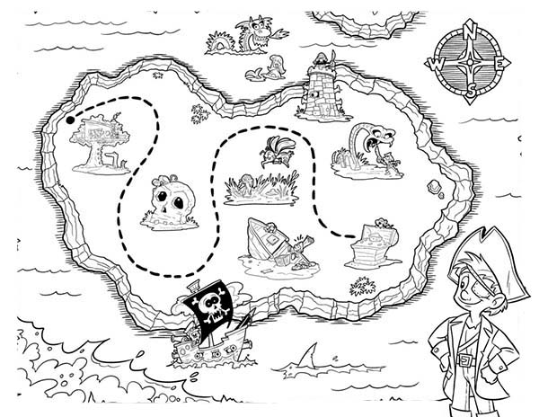 Maps, : Picture of Pirate Treasure Maps Coloring Pages