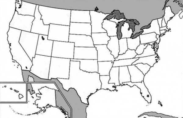 Maps, : Picture of USA Maps Coloring Pages