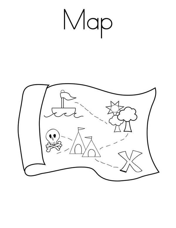 Maps, : Pirate Treasure Maps Coloring Pages