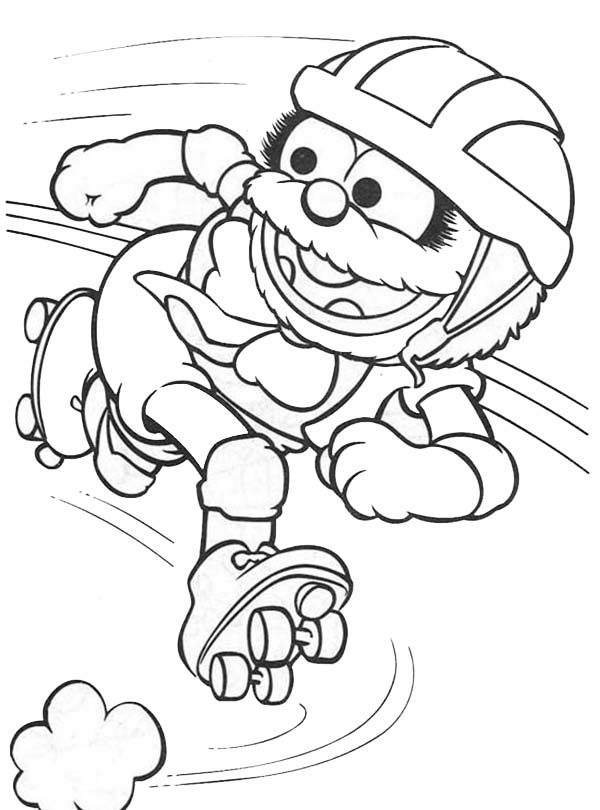 Muppet Babies, : Playing Rollerblade Muppet Babies Coloring Pages