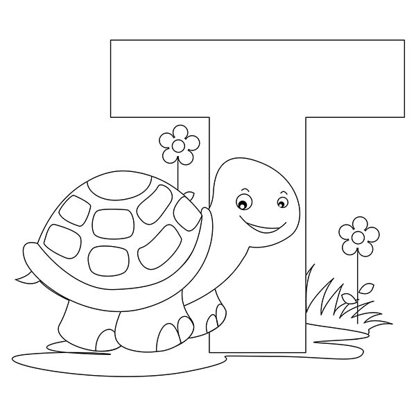 Letter T, : Preschool Kids Learn Letter T is for Turtle Coloring Page