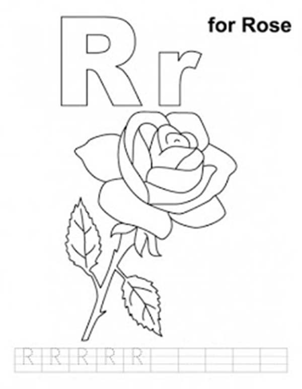 Letter R, : Preschool Kids Learn Upper Case and Lower Case Letter R Coloring Page