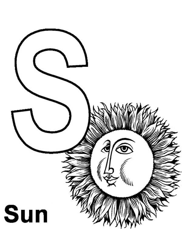 Letter S, : Preschool Kids Learning Sun for Letter S Coloring Page