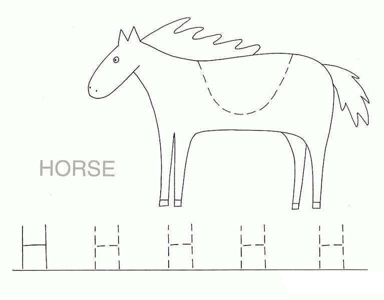 Letter H, : Preschool Kids Spelling Word Start with Letter H Coloring Page