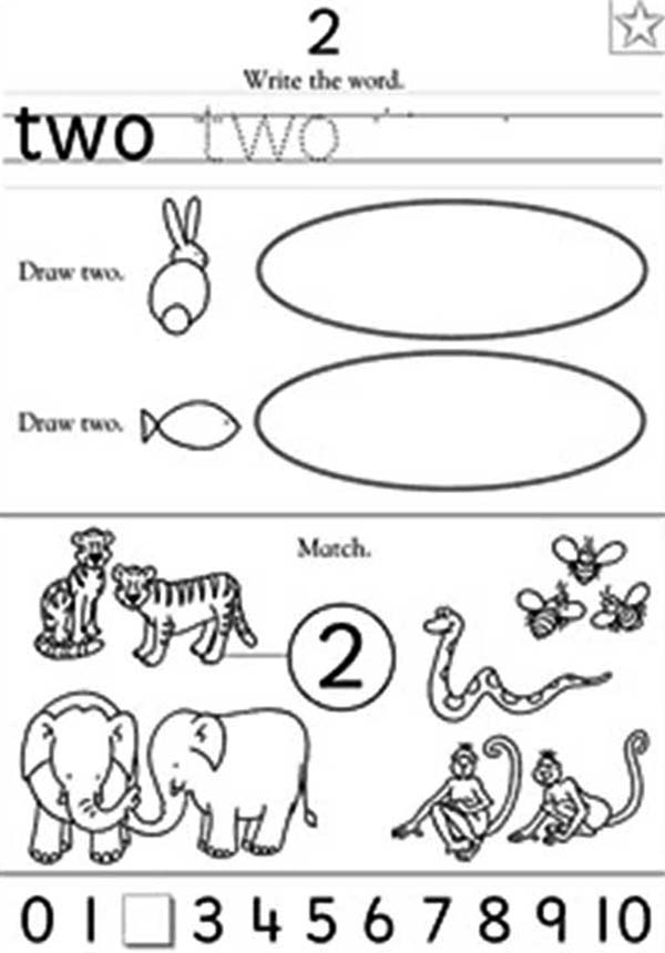 Number 2, : Preschool Learn Number 2 Coloring Page