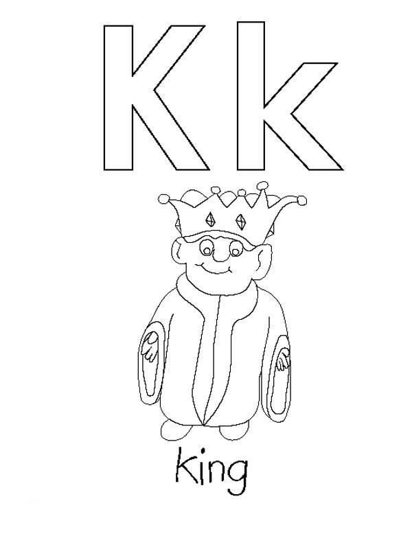 Letter K, : Preschool Learning Letter K Coloring Page