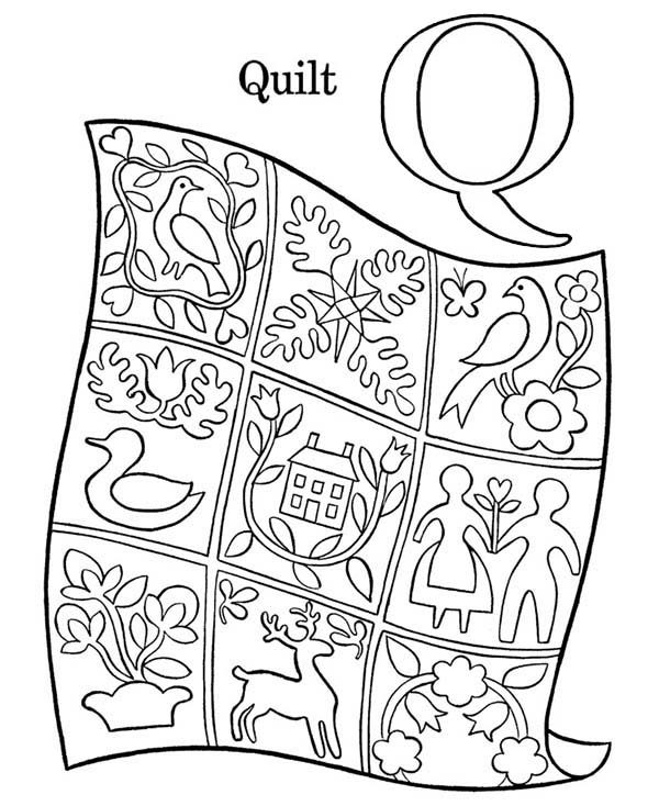 Letter Q, : Preschool Learning Letter Q Coloring Page