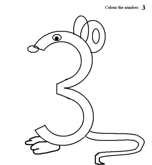 Number 3, : Preschool Learning Number 3 Coloring Page