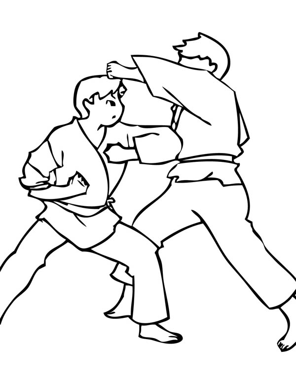 Judo, : Punching in Judo Coloring Pages 2