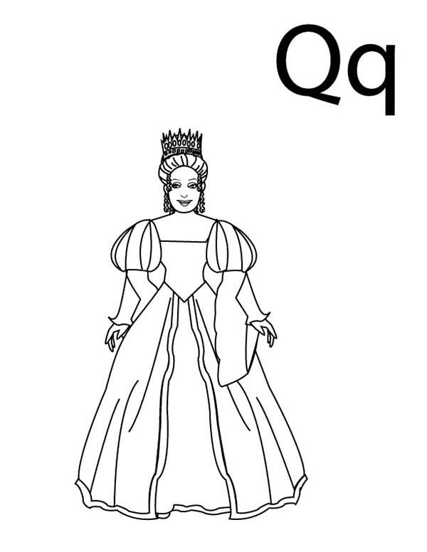 Letter Q, : Queen for Letter Q Letter Q Coloring Page